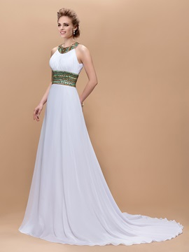 Graceful A Line Jewel Neck Beading Floor Length Court Train Evening Dress