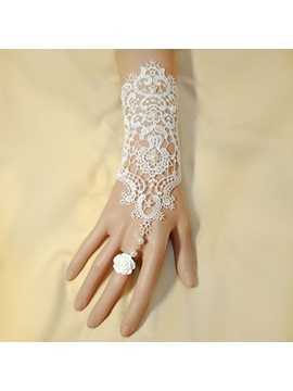 Luxurious New Arriver Lace Pearl Flower Wedding Glove