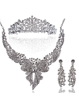 Luxurious Rhinestone Bowknot And Alloy Wedding Jewelry Set Including Necklace Tiara And Earrings