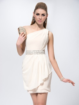 Sheath Short Mini Sash Lace One Shoulder Sequins Formal Dress