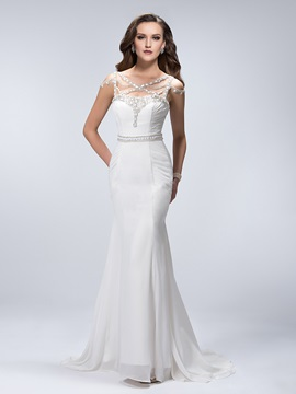 Gorgeous Beaded Criss Cross Straps Sweep Train Trumpet Ruched Floor Length Evening Dress