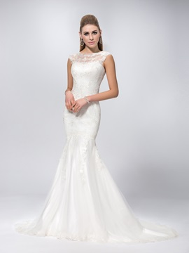 Sexy Scoop Neck Chapel Train Mermaid Lace Wedding Dress