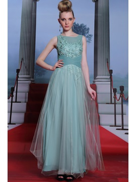 Scoop Appliques Ruched A Line Floor Length Evening Dress