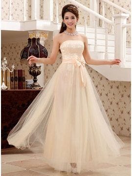 Strapless Floor Length Sash Bridesmaid Dress