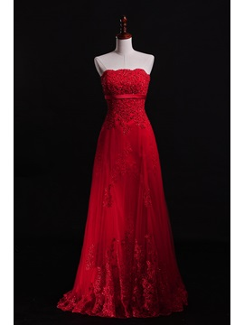 Charming Strapless Appliques Sequins Lace Up Floor Length A Line Evening Dress
