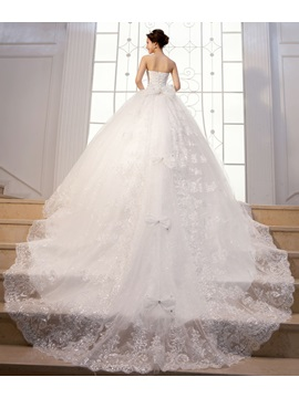 Luxurious Floor Length Strapless A Line Lace Up Beading Wedding Dress