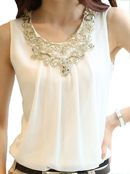 New Summer Sleeveless Chiffon Pleated Jumper Blouse