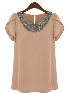 Elegant Short Sleeves Chiffon Beading New Blouse