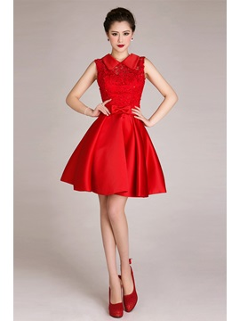 Chic A Line Lace Bowknot Sequins Short Length Sweet 16 Prom Dress