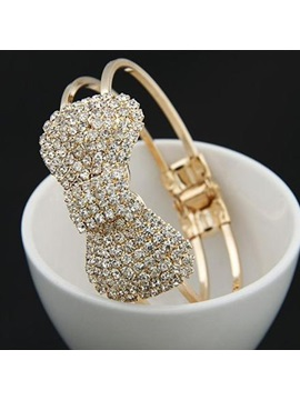 Brilliant Rhinestone Bow Knot Alloy Womens Open Bangle