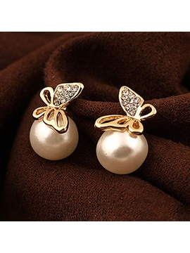 Pretty Pearl Rhinestone Butterfly Womens Earrings