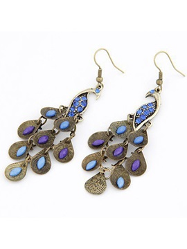 Pretty Retro Bohemian Crystal Peacock Alloy Womens Earrings