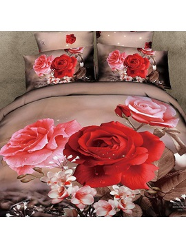 Red And Pink Floral Cotton 4 Piece Bedding Sets