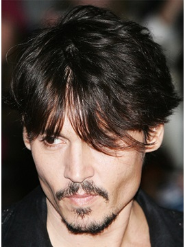 Custom Johnny Depp Short Straight Front Bang Hairstyle 100 Remy Human Hair Wig 6 Inches