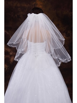 Delicate Wedding Bridal Veil With Sequined Edge