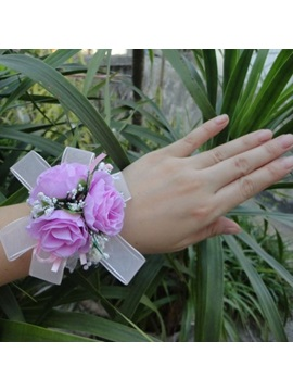 Brilliant Pearls Purple Cloth Flowers Wedding Bridal Wrist Corsage