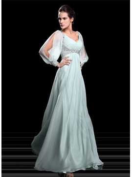 Graceful A Line V Neck Beading Empire Waist Long Sleeves Floor Length Evening Dress