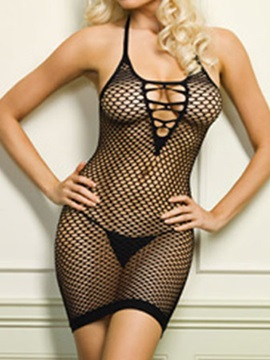 High Quality Black Net Strap Open Back Chemise