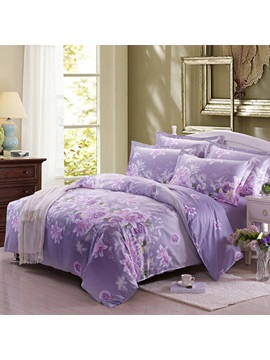 Light Purple Flowers Print Pure Cotton 4 Piece Bedding Sets