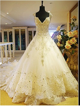 Luxurious Rhinestone Beaded V Neck Cathedral Wedding Dress