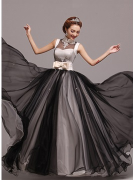 Classic A Line Appliques Pearls Bowknot High Neck Floor Length Prom Dress