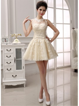 A Line Jewel Lace Appliques Short Homecoming Dress