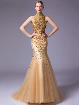 Luxurious Beading Sequins High Neck Long Mermaid Evening Dress