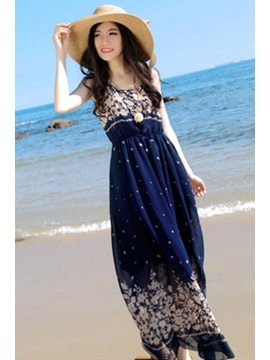Popular Bohemian Style Flowers Print Blue Chiffon Maxi Dress