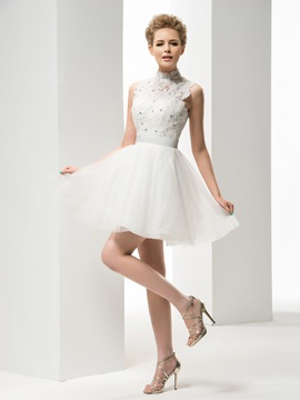 Beautiful A Line High Neck Appliques Short Wedding Dress