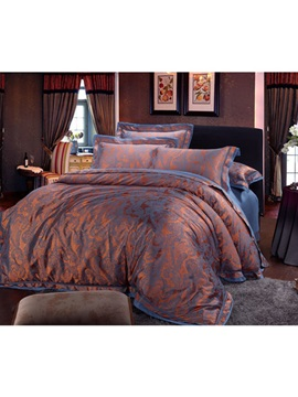 Soft Two Tone Jacquard Print Cotton 4 Piece Bedding Sets
