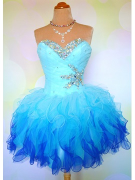 Pretty Sweetheart Beading Ruffles Lace Up Short Homecoming Dress