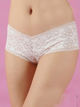 Adorable White Lace Cut Outs Womens Sensual Pantie