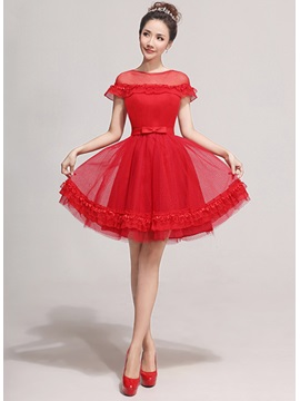 Lovely Bowknot Short Sleeves Lace Up Knee Length A Line Sweet 16 Dress