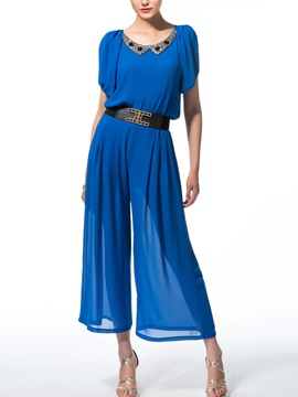 New Blue Rhinestone Round Neck Split Bat Sleeve Jumpsuits With Belt