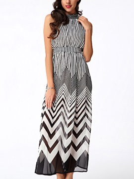 Vogue Wave Stripe Off Shoulder Chiffon Maxi Dress
