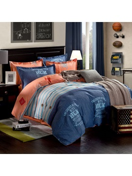 Auspicious Dark Navy Striped Letters Print 100 Cotton 4 Piece Bedding Sets