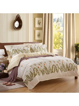 Modern Pastoral Style Dandelion And Leaves Print 100 Cotton 4 Piece Bedding Sets