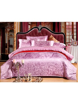 Luxurious Purple Peony Satin Jacquard 4 Piece Bedding Sets