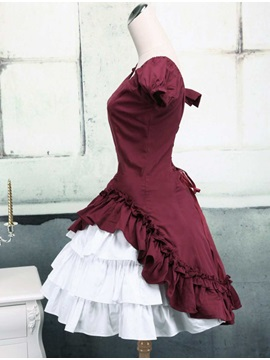 Red Cotton Sweetheart Short Sleeve Classic Lolita Dress