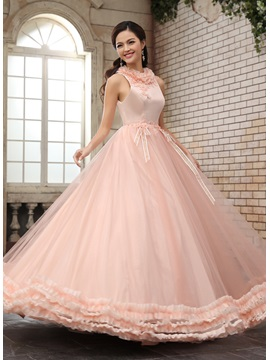 A Line Jewel Neck Ruffles Sash Appliques Beading Floor Length Quinceanera Dress
