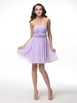 Sweetheart Pleated A Line Short Floral Bridesmaid Dress