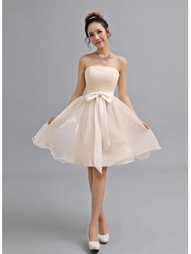 Delightful Strapless A Line Bowknot Lace Knee Length Lace Up 16 Dress