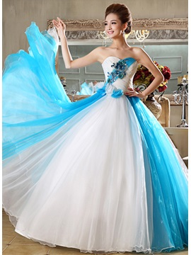 Beauteous Sweetheart Flowers Appliques A Line Floor Length Quinceanera Dress