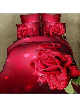 Romantic Rose Heart Print Pure Cotton 4 Piece Wedding Bedding Sets