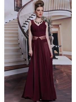 Timeless V Neck Beading Ruched Zipper Up Floor Length Evening Dress