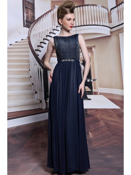 Popularable Bateau Floor Length Crystal Up Sleeveless Evening Dress