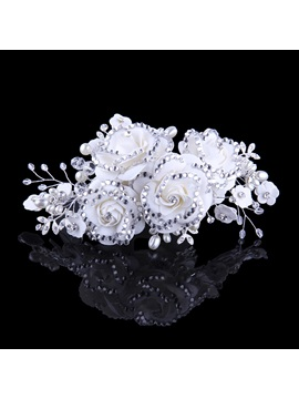 Ladylike Flower Diamond High Grade Manual Bridal Headpiece With Pearl