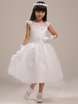 Cute Scoop Neck Zipper Up Tea Length Bowknot Applique Beading Flower Girl Dress