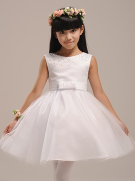 Cute Scoop Neck Zipper Up Knee Length Bowknot Flower Girl Dress With Jacket Shawl