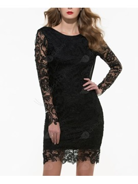 Crochet Backless Long Sleeve Sexy Dress